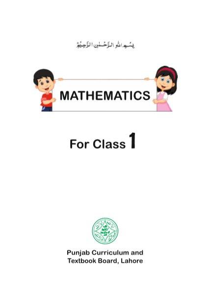 1st Class (Class-1) Maths English Medium Text book by Punjab Board PDF